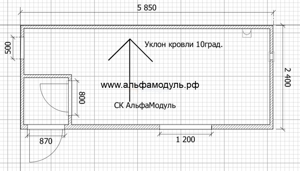 Блок-контейнер офис+дачный 5.85х2,4 м